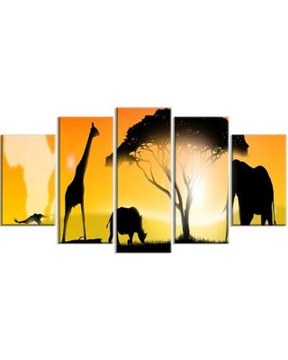 Design Art 'African Wildlife Panorama' 5 Piece Photographic Print on Wrapped Canvas Set PT13054-373
