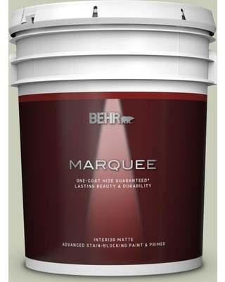 BEHR MARQUEE 5 gal. #S380-2 Morning Zen Matte Interior Paint and Primer in One