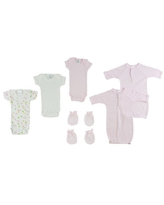 """Set of 12 Blush Pink and White Infant Clothing Essentials Preemie Girls' Onezies, Gowns, and Mittens, 8"""""""