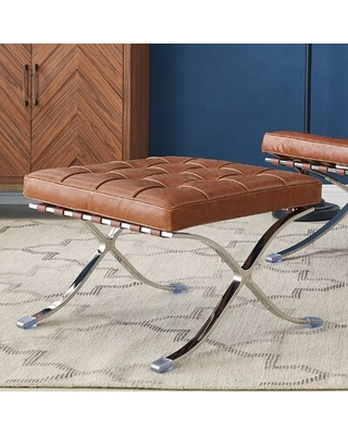 """Blakely 24"""" Wide Faux Leather Tufted Rectangle Standard Ottoman"""