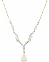 """14k Gold Over Silver Lab-Created White Opal & White Sapphire Necklace, Women's, Size: 17"""""""
