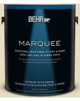 BEHR MARQUEE 1 gal. #PPL-76 Ecru Satin Enamel Exterior Paint and Primer in One, White