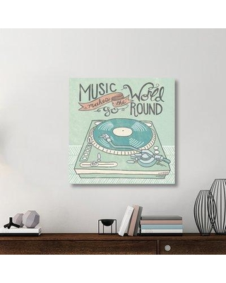 """East Urban Home 'Retro Record Player Gray' Textual Art on Canvas UBAH1487 Size: 36"""" H x 36"""" W x 1.5"""" D"""