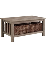 40 Wood Storage Coffee Table With Totes - Driftwood (Brown) - Walker Edison