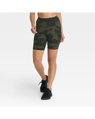 """Women's Sculpted Linear Camo Print High-Rise Bike Shorts 7"""" - All in Motion Olive Green M"""