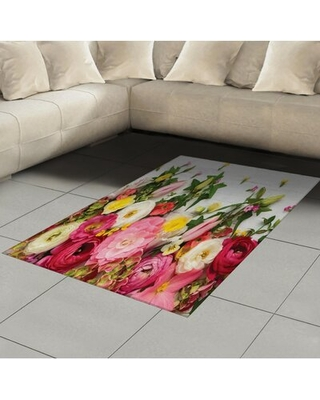 """Bunch Floral Flatweave Pink Area Rug East Urban Home Rug Size: Rectangle 4' x 5'8"""""""