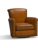 Irving Leather Swivel Glider, Bronze Nailheads, Polyester Wrapped Cushions, Leather Burnished Bourbon
