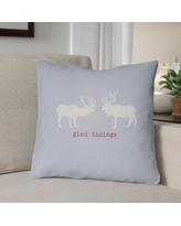 """The Holiday Aisle Glad Tidings Indoor/Outdoor Throw Pillow THDA8961 Size: 20"""" H x 20"""" W x 4"""" D, Color: Blue / White / Red"""