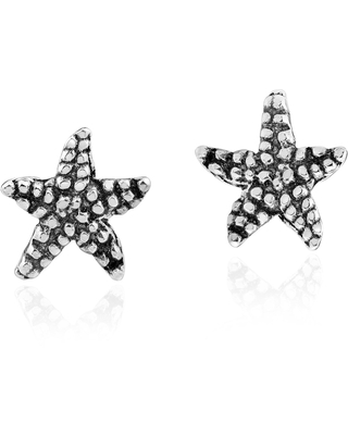 Handmade Intricately Textured Starfish .925 Sterling Silver Stud Earrings (Thailand) (White)