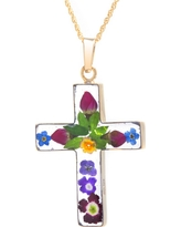 Women's Gold over Sterling Silver Pressed Flowers Cross Pendant (18), Multi-Colored