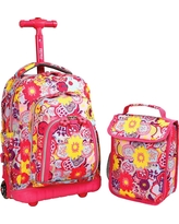 """J World 16"""" Lollipop Rolling Backpack with Lunch Kit - Poppy Pansy"""