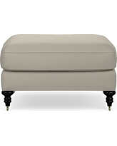 Bedford Ottoman, Italian Distressed Leather, Ivory