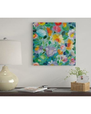 """East Urban Home 'Turquoise Flowers' By Kim Parker Graphic Art Print on Canvas EUME1859 Size: 18"""" H x 18"""" W x 1.5"""" D"""