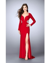 La Femme - 23885 Ornate Deep Sweetheart Sheath Long Evening Gown