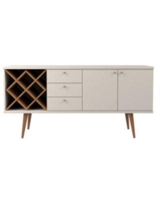 Manhattan Comfort Utopia 4 Bottle Wine Rack Sideboard Buffet Stand with 3 Drawers and 2 Shelves