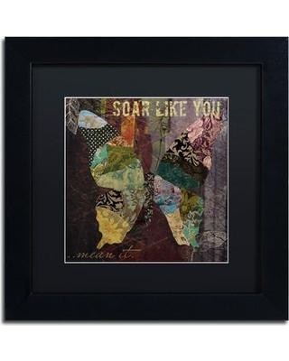 """Trademark Art 'Winging It II' by Color Bakery Framed Graphic Art ALI4263-B1 Size: 11"""" H x 11"""" W x 0.5"""" D Mat Color: Black"""