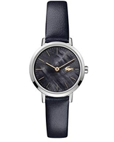 Lacoste Women's Moon Stainless Steel Quartz Watch with Leather Calfskin Strap, Navy, 12 (Model: 2001122)