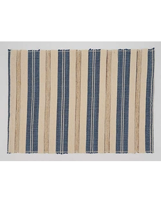 """SARO LIFESTYLE Walai Collection Striped Placemats (Set of 4), 14""""x20"""", Periwinkle Blue"""