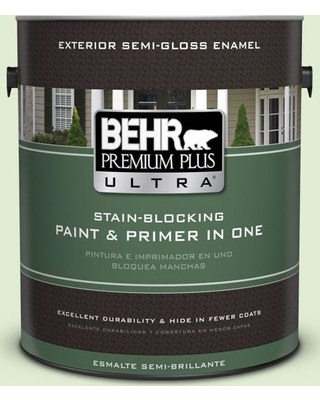 BEHR Premium Plus Ultra 1 gal. #P380-2 Misted Fern Semi-Gloss Enamel Exterior Paint and Primer in One