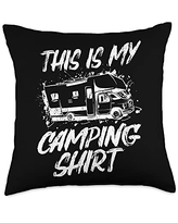 Funny Camping Sayings & Designs This Is My Camping Shirt RV Mobile Home Holiday Camper Throw Pillow, 18x18, Multicolor