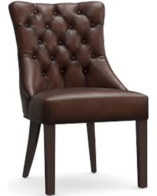 Hayes Tufted Dining Side Chair, Leather Burnished Walnut