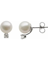18k White Gold AA Akoya Cultured Pearl and 1/7-ct. T.W. Diamond Stud Earrings (7-7.5 mm), Women's