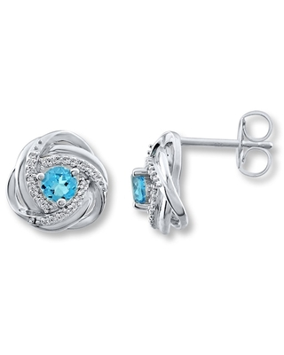 Jared The Galleria Of Jewelry Blue Topaz Earrings 1/10 ct tw Diamonds Sterling Silver