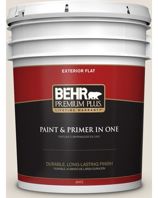 BEHR Premium Plus 5 gal. #PPU7-11 Cotton Knit Flat Exterior Paint and Primer in One