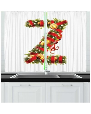2 Piece Christmas Alphabet Highly Realistic Image of Z Letter as Spruce Tree Branches Kitchen Curtain Set East Urban Home