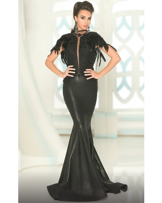 MNM COUTURE - 2528 Embellished High Neck Mermaid Dress