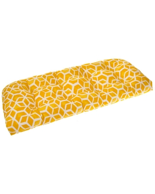 Grouchy Goose Cubed 44 in. x 19 in. x 5 in. Outdoor Rectangular Loveseat Cushion in Yellow