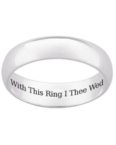 """Sterling Silver """"With This Ring I Thee Wed"""" Wedding Band (10)"""