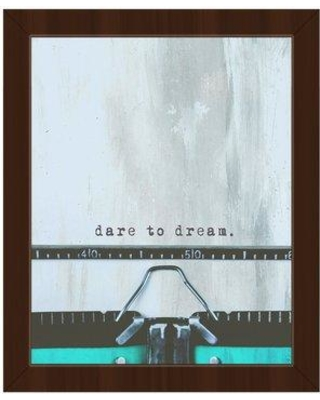 """Click Wall Art Typewriter 'Dare to Dream' Framed Graphic Art Print on Canvas COM0000258FRA08x10SBK Size: 18.5"""" H x 22.5"""" W Format: Espresso Framed"""