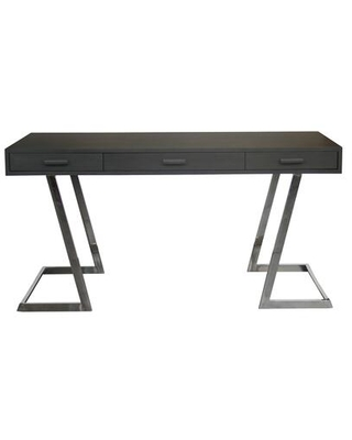 Juniper Collection LCJNDEGR Contemporary Desk with Polished Stainless Steel Finish and Grey