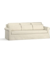 "York Roll Arm Slipcovered Deep Seat Grand Sofa 98"" with Bench Cushion, Down Blend Wrapped Cushions, Basketweave Slub Oatmeal"