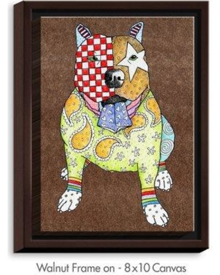 "DiaNocheDesigns 'Pitbull' by Marley Ungaro Painting Print on Wrapped Framed Canvas DNOC1983 Size: 21.75"" H x 17.75"" W x 1.75"" D Frame Color: Walnut"