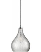 "Jamie Young 13"" Wide Curved Cut Clear Glass Pendant"