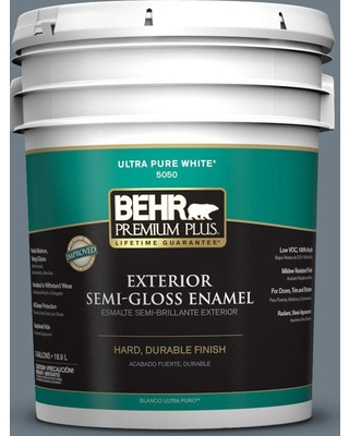BEHR Premium Plus 5 gal. #N490-5 Charcoal Blue Semi-Gloss Enamel Exterior Paint and Primer in One
