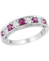 4/5 CT. T.W. Created Ruby and Created White Sapphire Ring - Silver, Size: 7.0