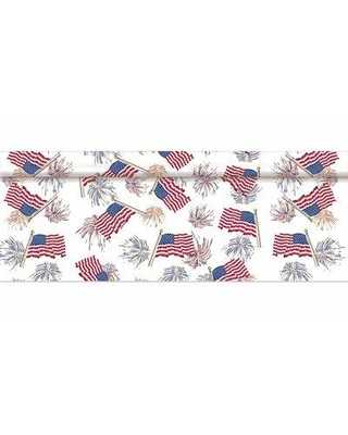 "Amscan Geometric Independence Day Tablecloth, Plastic/Vinyl in Red, Size 40""H X 1200""W 