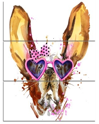 'Brown Cute Dog with Heart Glasses' 3 Piece Wall Art on Wrapped Canvas Set Design Art