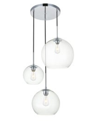 3-Light 21 inch Pendant with Clear Glass (Chrome)