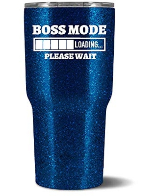 Boss Mode Loading Personalized Stainless Steel Tumbler with Glitter by Wine Glass Queen – Includes Straw and Lid – Gifts for Her, Christmas, Birthdays, Office, Mother's Day – Personalized Gifts