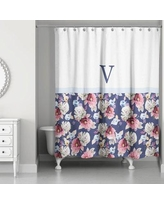 Darby Home Co Arquette Floral Monogrammed Shower Curtain DABY6302 Letter: V