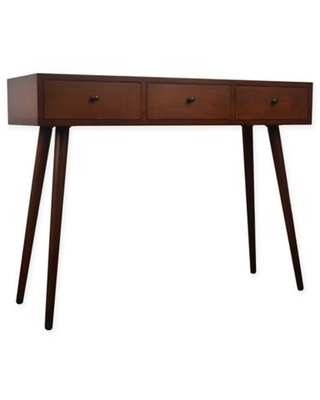 Decor Therapy Mid-Century 3-Drawer Console Table with Walnut Finish
