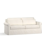 "York Roll Arm Slipcovered Deep Seat Sofa 84"", Down Blend Wrapped Cushions, Denim Warm White"