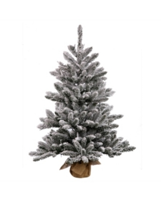 Vickerman 42 inch Flocked Anoka Pine Artificial Christmas Tree With 150 Clear Lights
