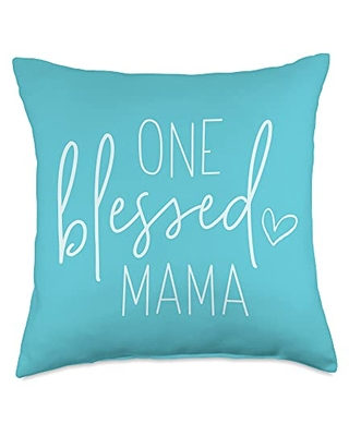 Lettered Grace Contemporary Christian Gifts One Blessed Mama - Cute Quote Sayings for Mom - Pool Blue Throw Pillow, 18x18, Multicolor