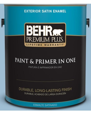 BEHR Premium Plus 1 gal. #PPU14-11 Gentle Sky Satin Enamel Exterior Paint and Primer in One