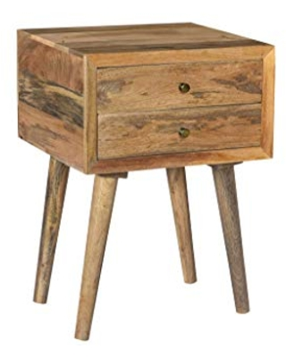 Crestview Collection CVFNR725 Bengal Manor Natural Mango Wood 2 Drawer Accent Table Furniture